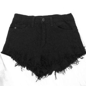 Pants - High waisted black fringe shorts